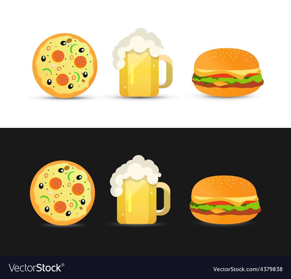 Tasty Pizza Beer and Hamburger