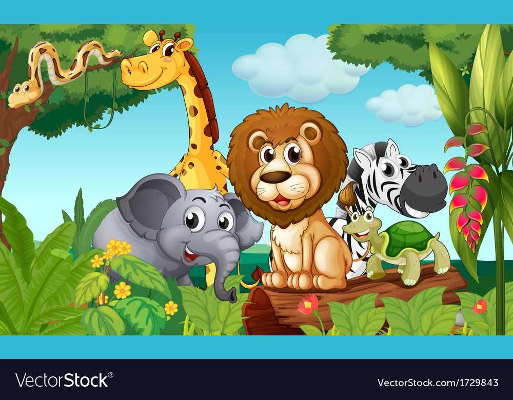 A forest with a group of animals