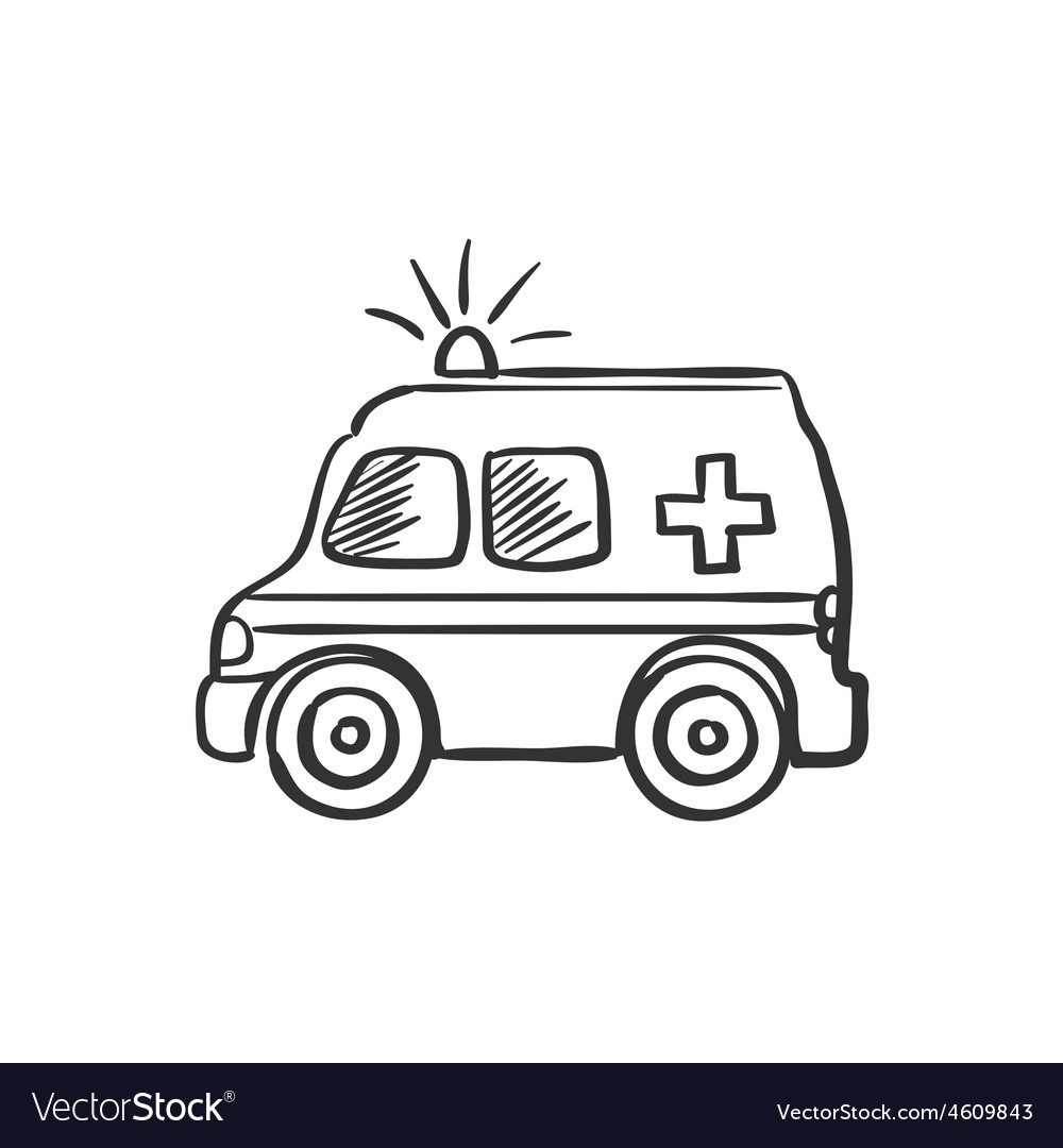 Ambulance doodle drawing vector image