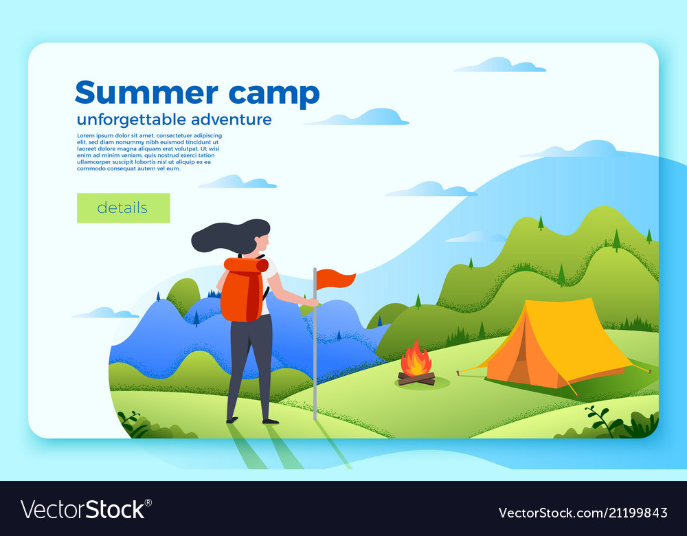 Camping banner template with tourist girl