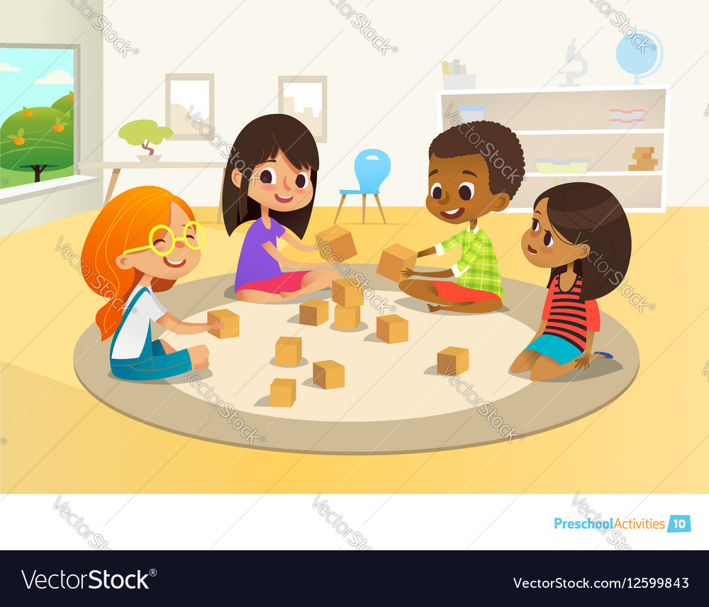 Children sit in circle on round carpet in vector image