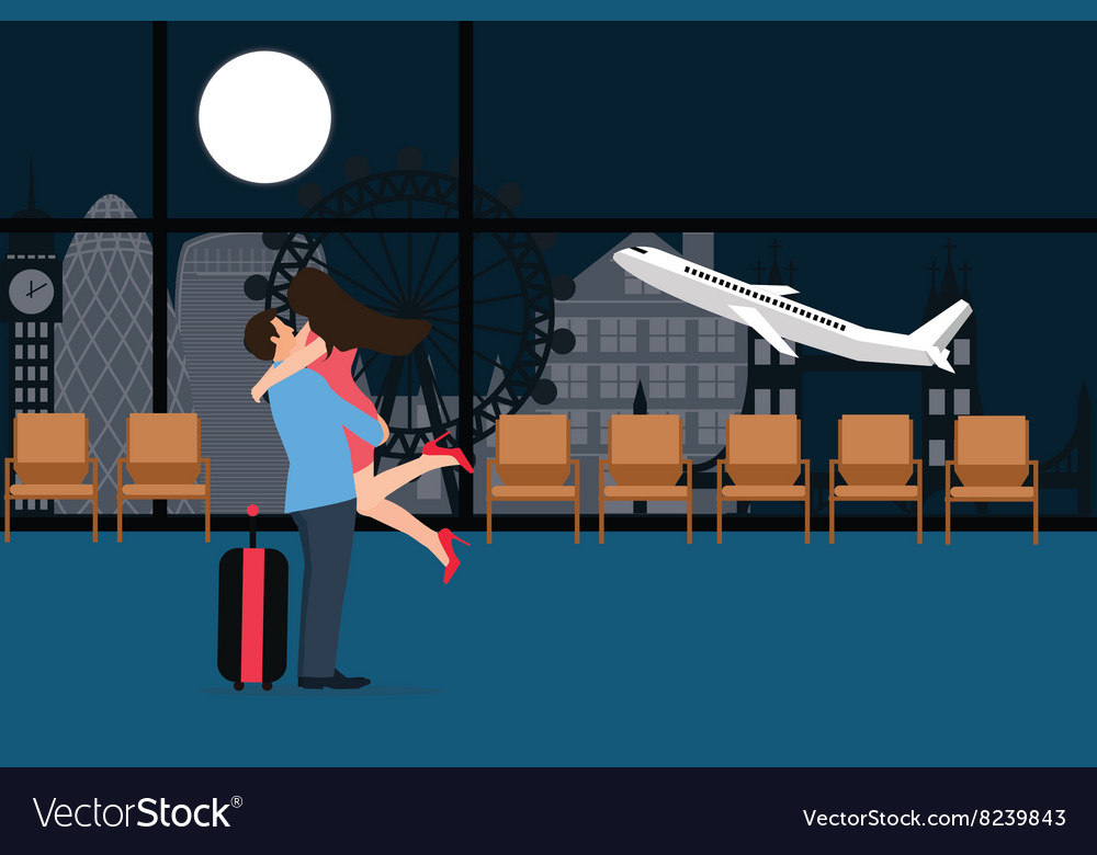 Couple meet at airport landing take off departure