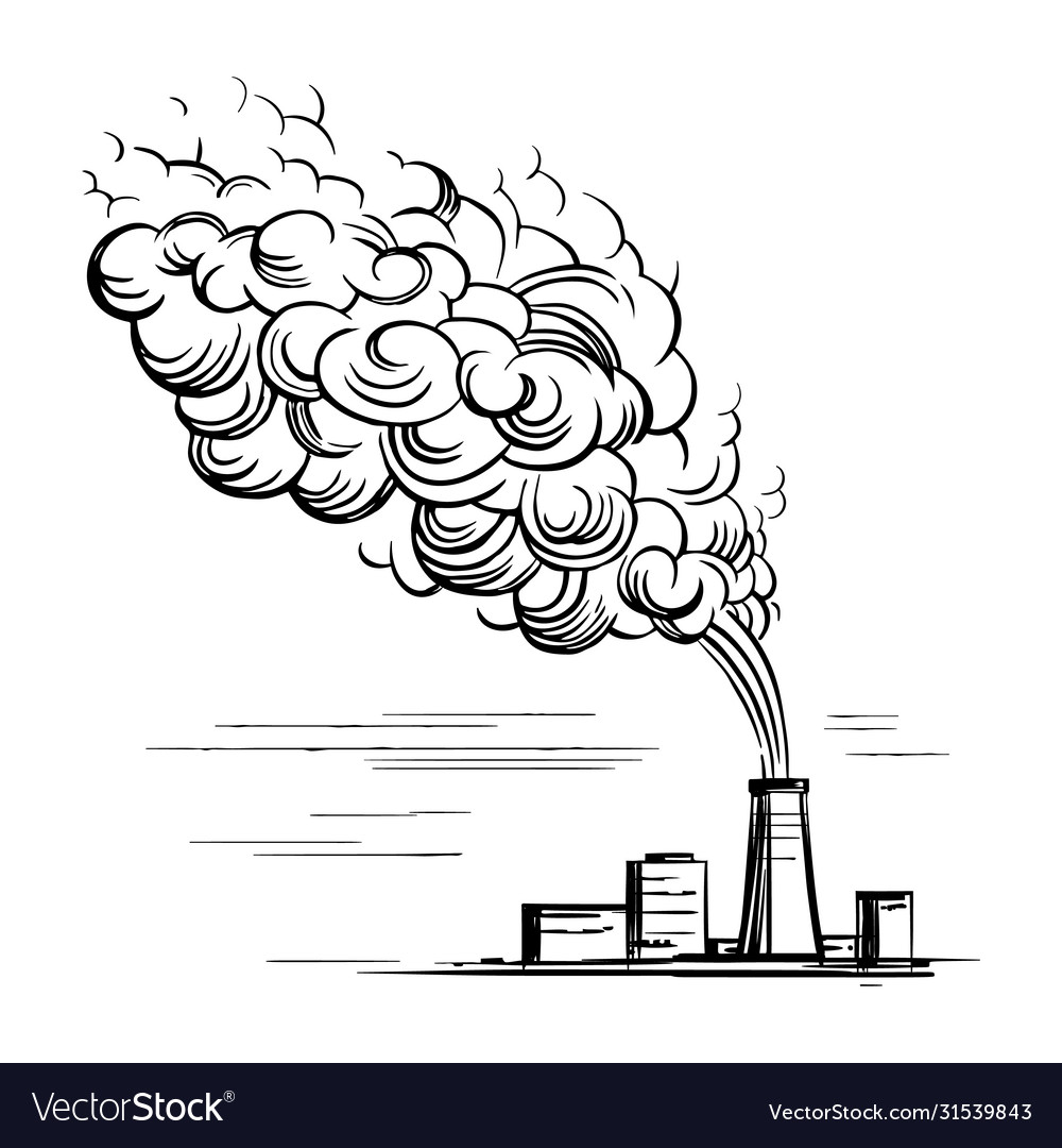Doodle sketch a factory with smoke from a pipe