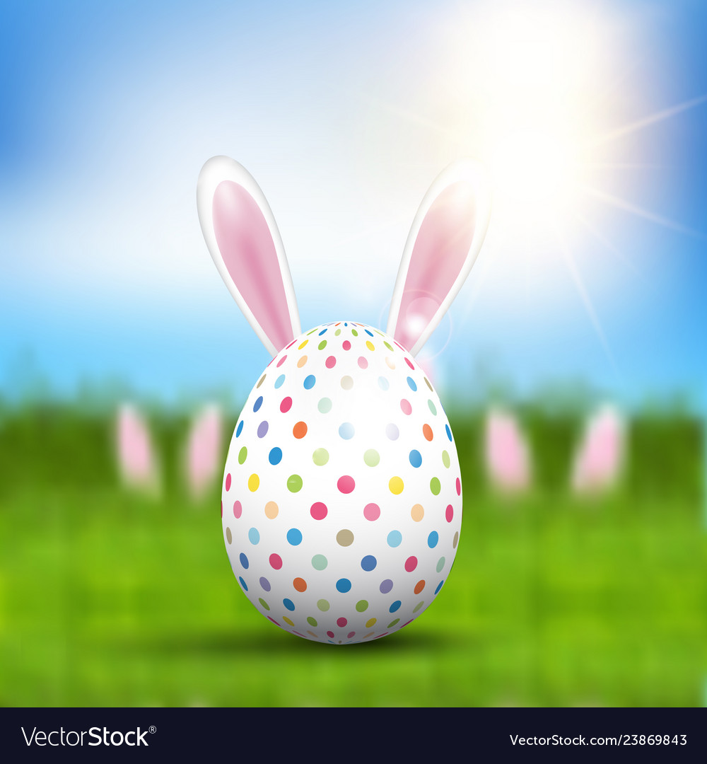 Easter egg with bunny ears