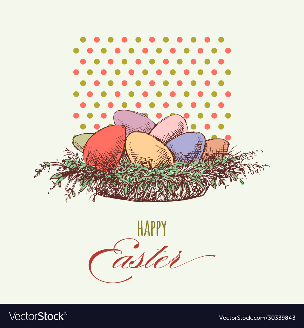 Easter eggs greeting card colorful eggs in a
