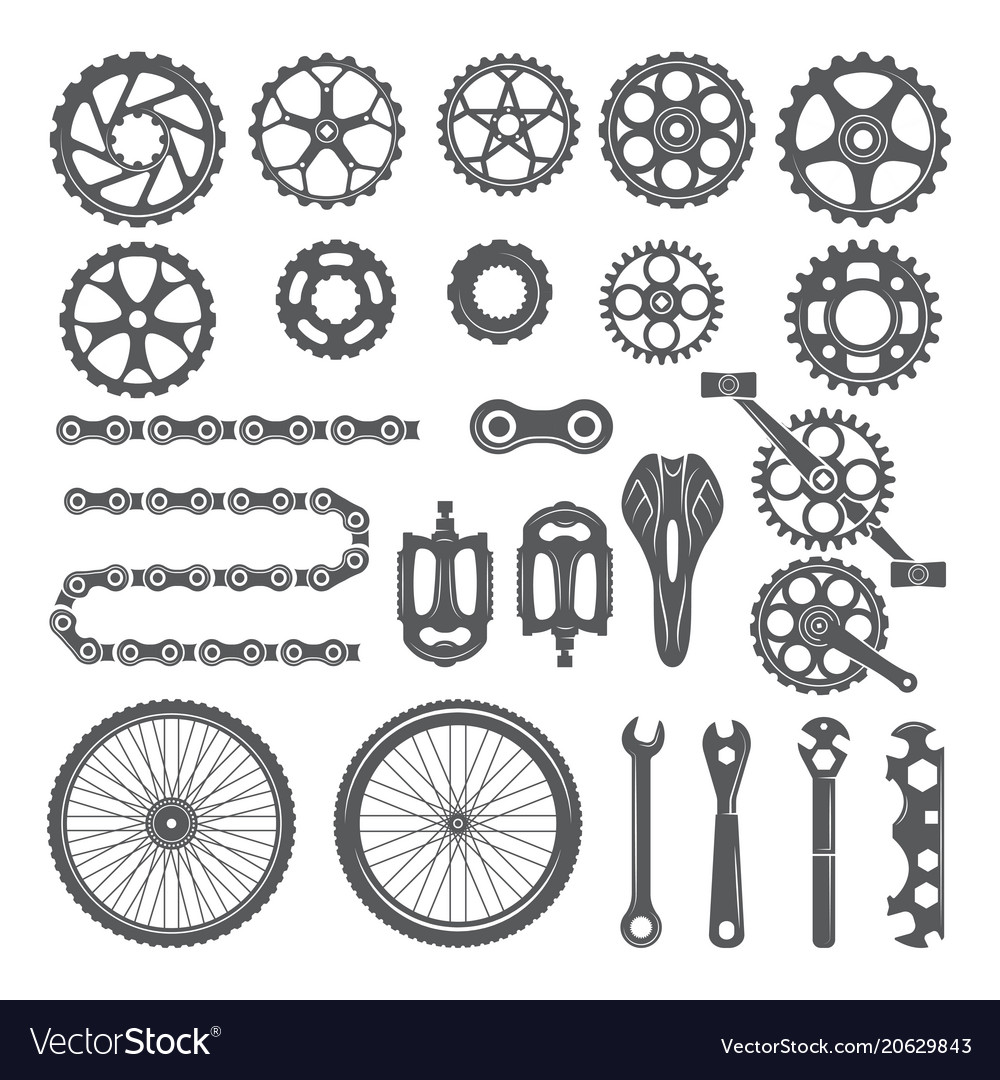 Gears chains wheels and other different parts of vector image