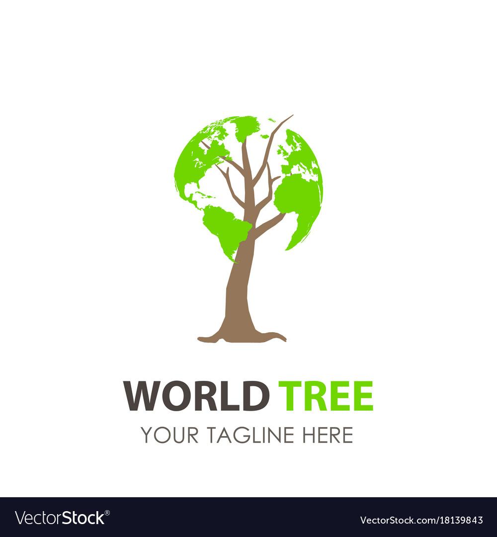 Logo tree world design green eco leaf icon nature vector image