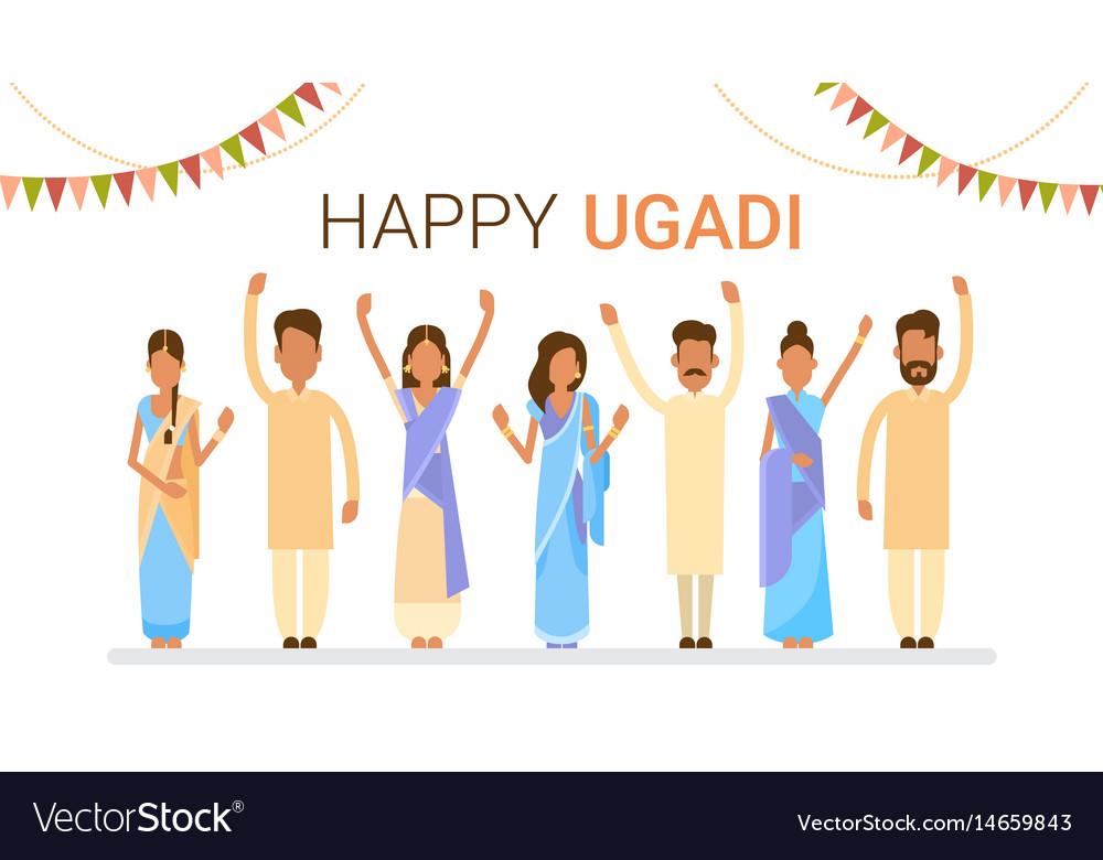 People group celebrate happy ugadi and gudi padwa vector image