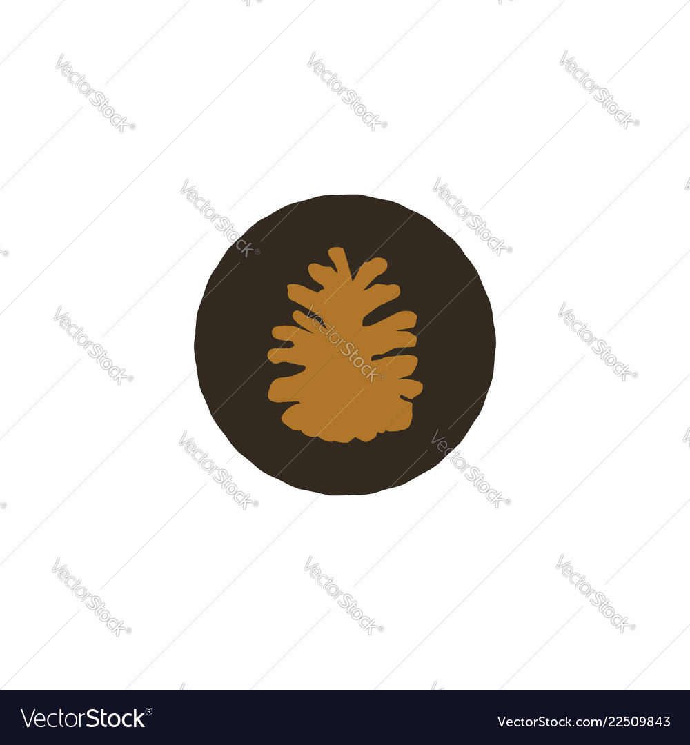 Pine cone patch simple nature shape retro