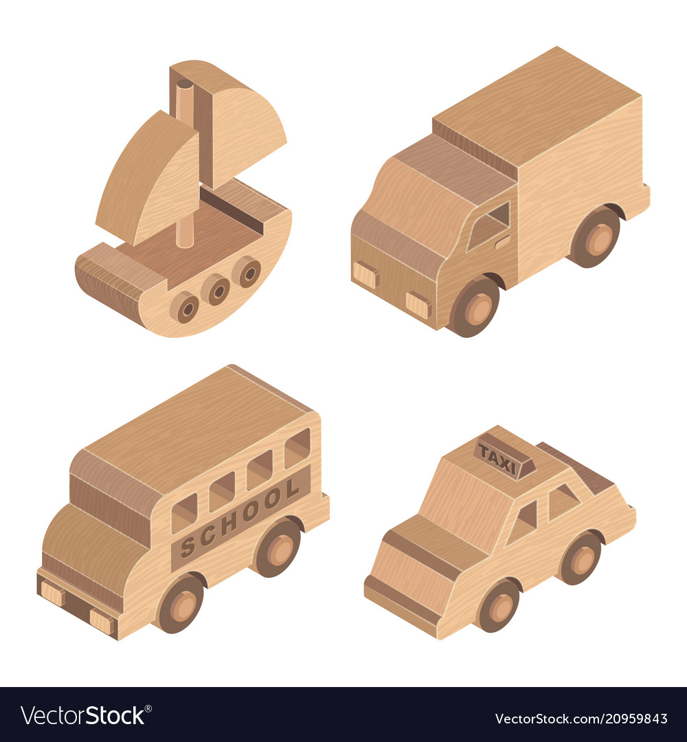 Wooden toy transportation on white background
