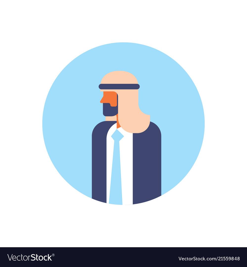 Arabic man beard profile avatar icon arab