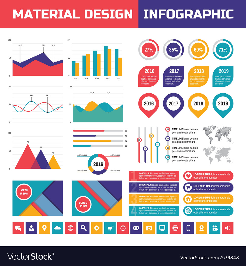 Business infographic set in material design