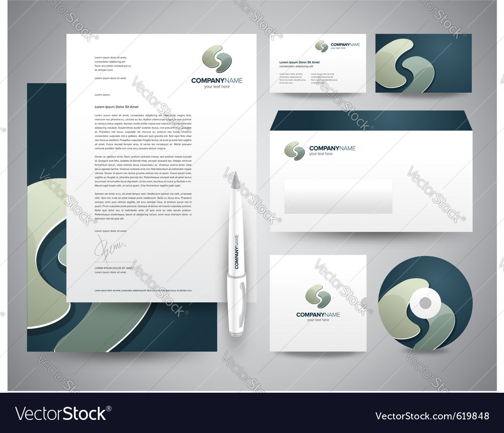 business stationery template turquoisee royalty free vector