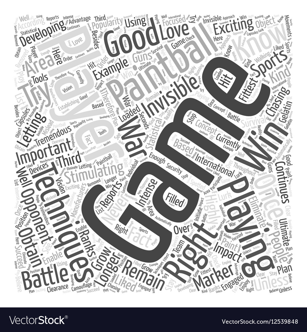 BWPB paintball playing techni Word Cloud Concept