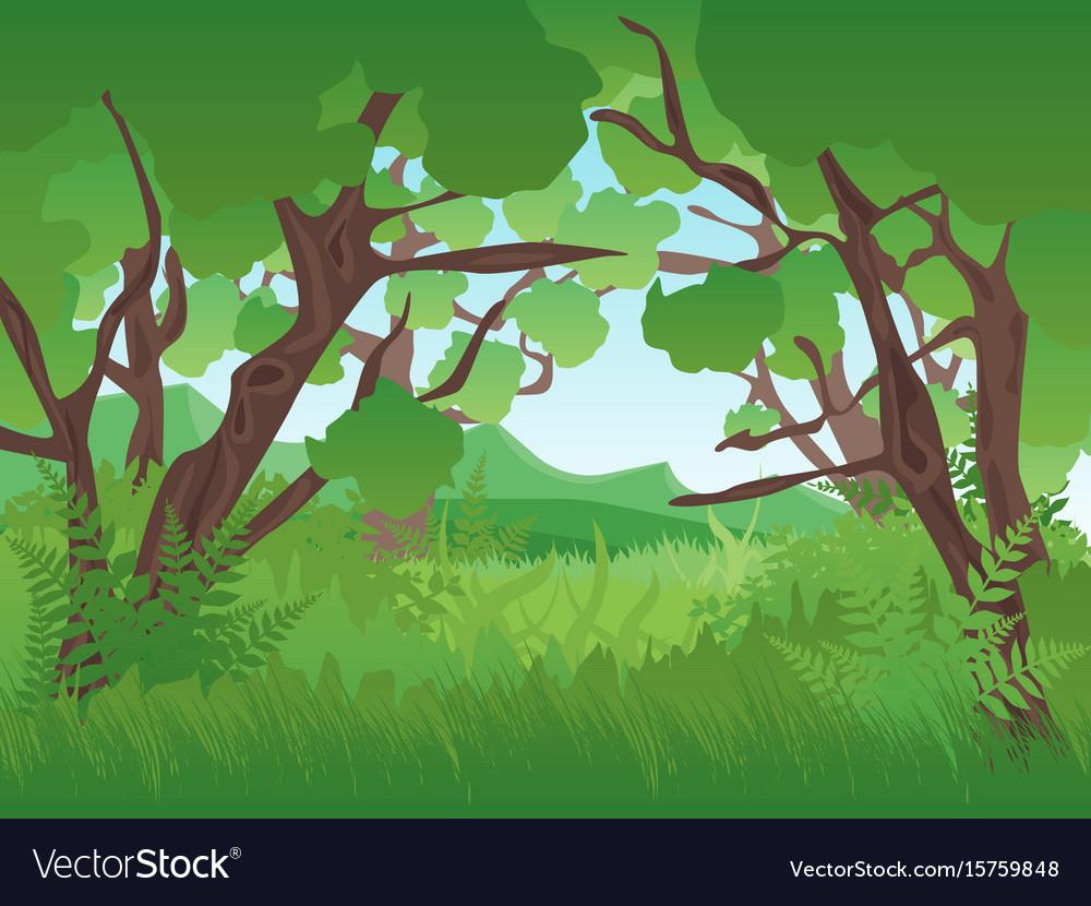 Cartoon Summer Green Forest Landscape Background