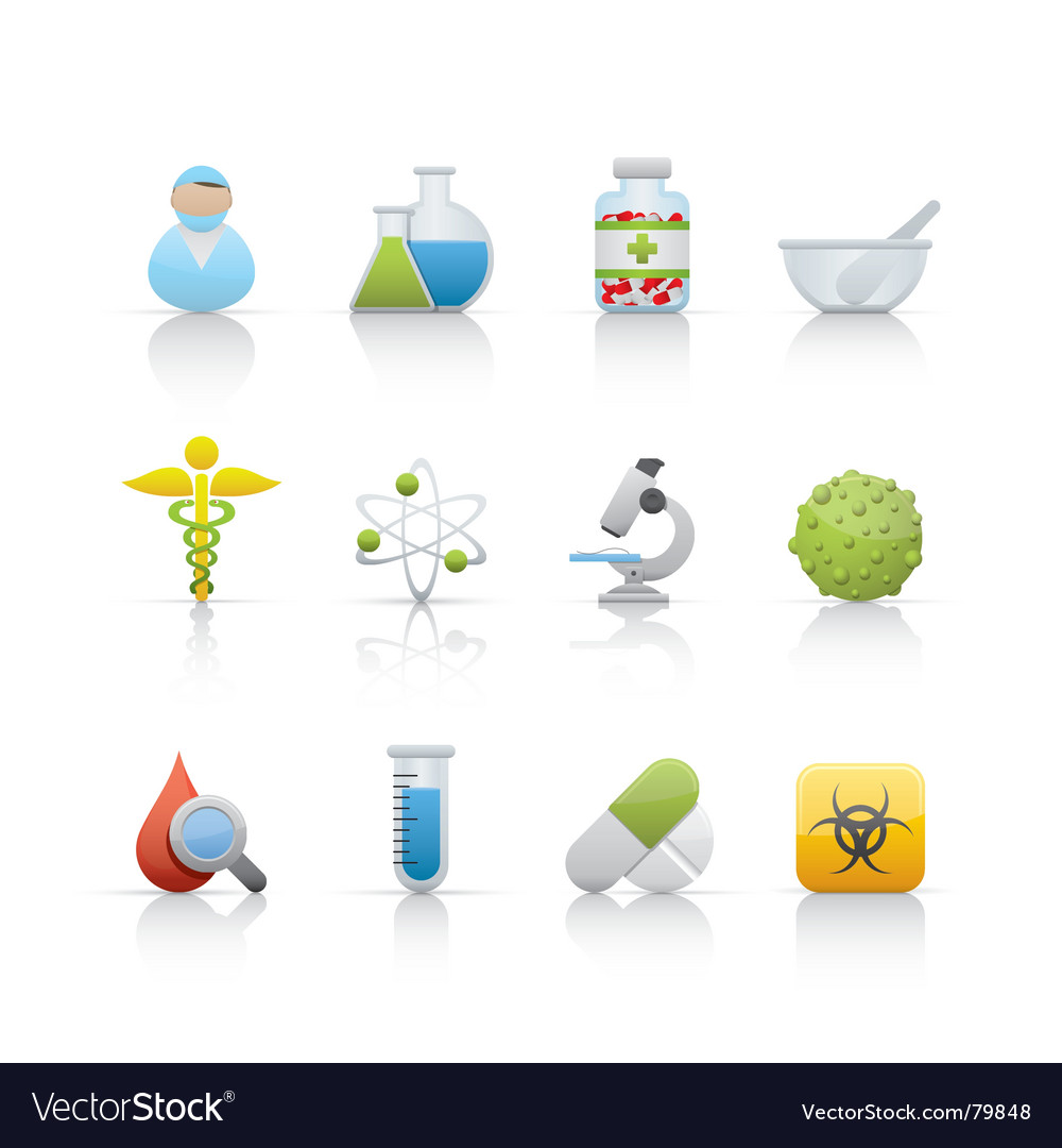 Icon set medical and pharmacy vector image