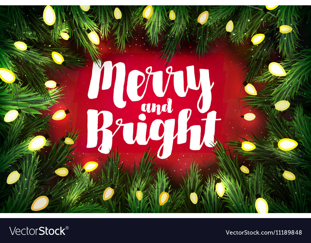merry and bright christmas greeting card vector image - Merry And Bright Christmas Decorations