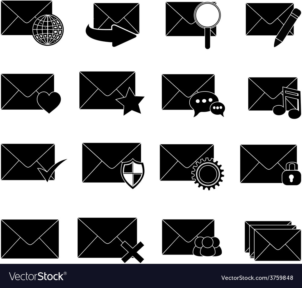 Message email icons set
