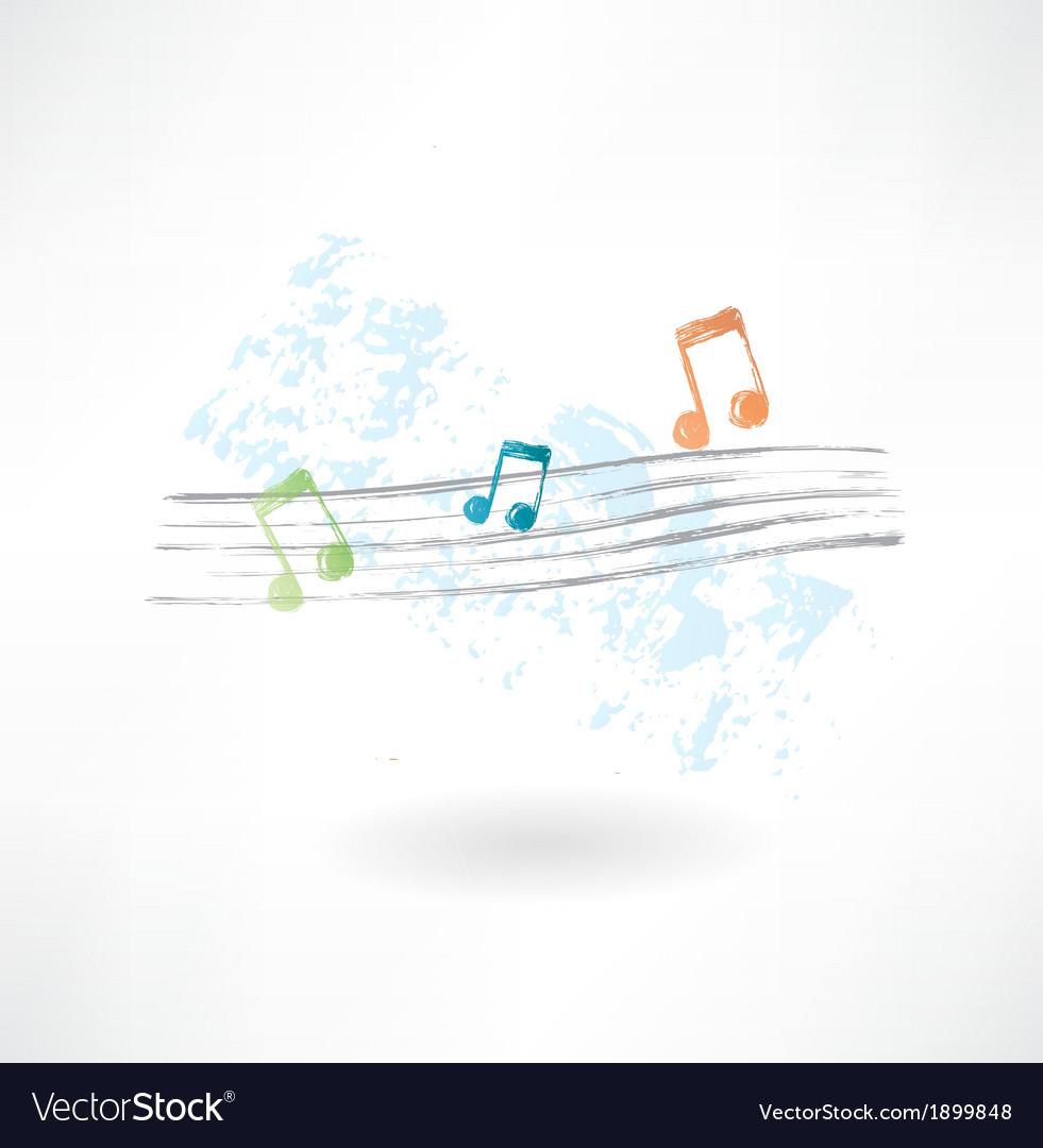 Musical notation grunge icon