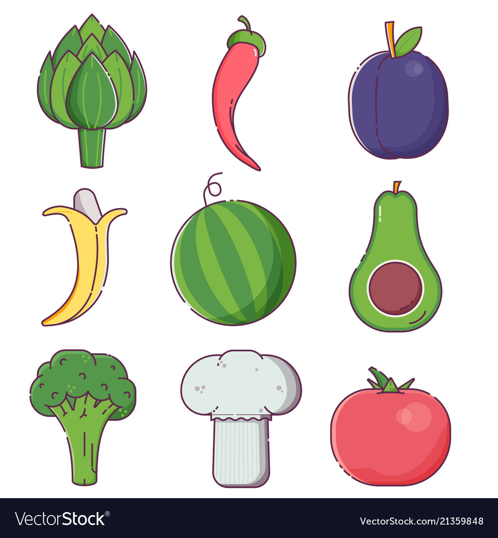 Raw fruit sand vegetables icons