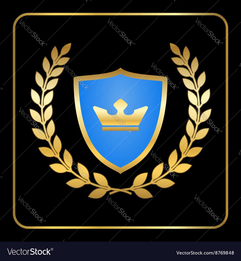 Shield gold laurel wreath icon crown black