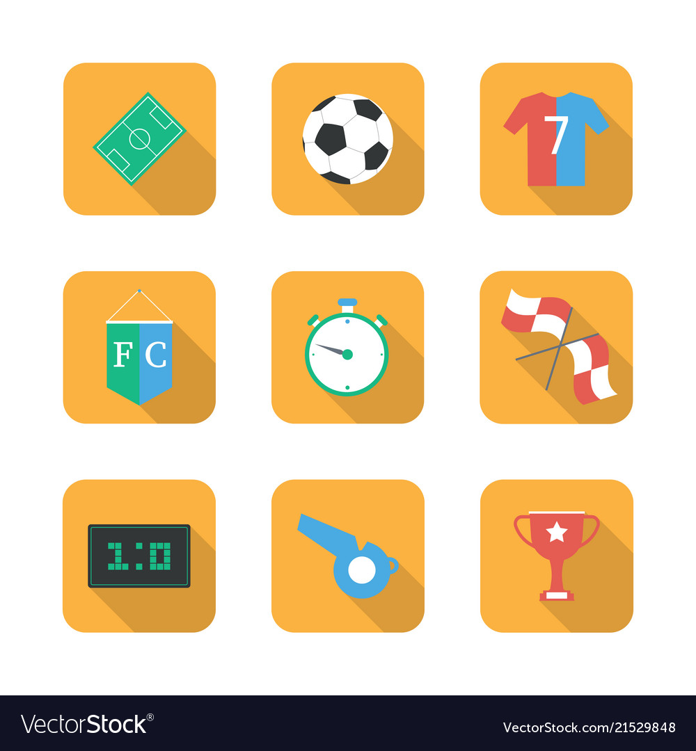 Soccer set icons with field