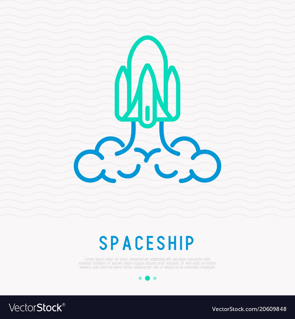 Spaceship thin line icon