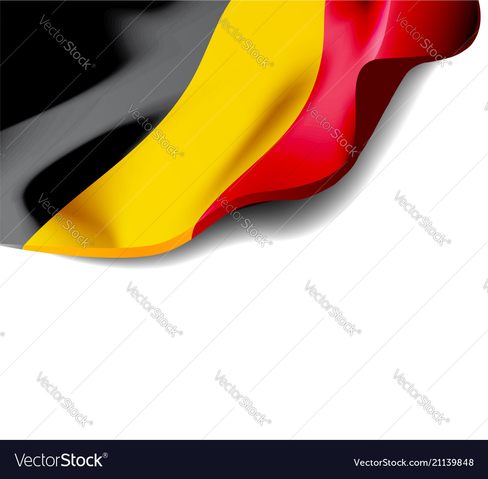 Waving flag of belgium close-up with shadow on