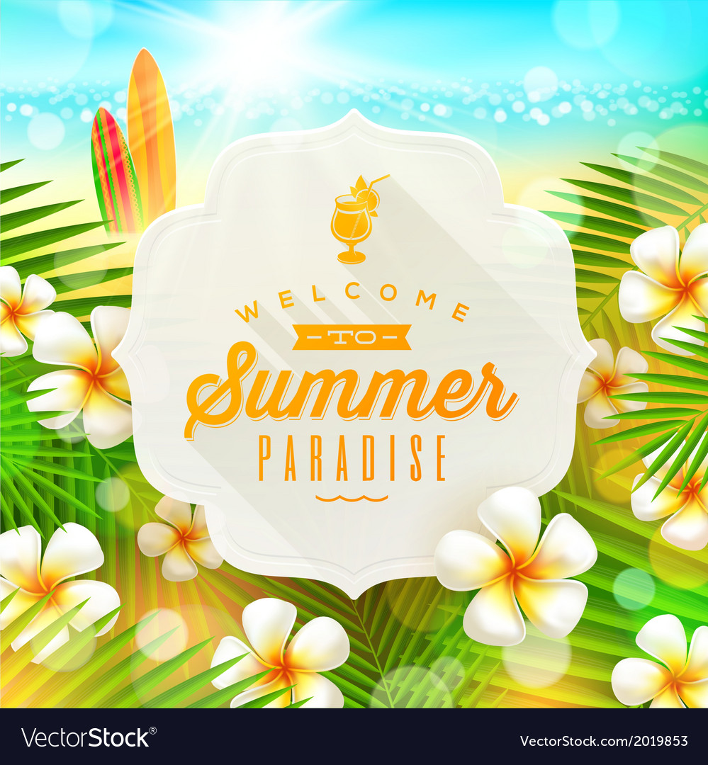 Banner with summer greeting and frangipani flowers