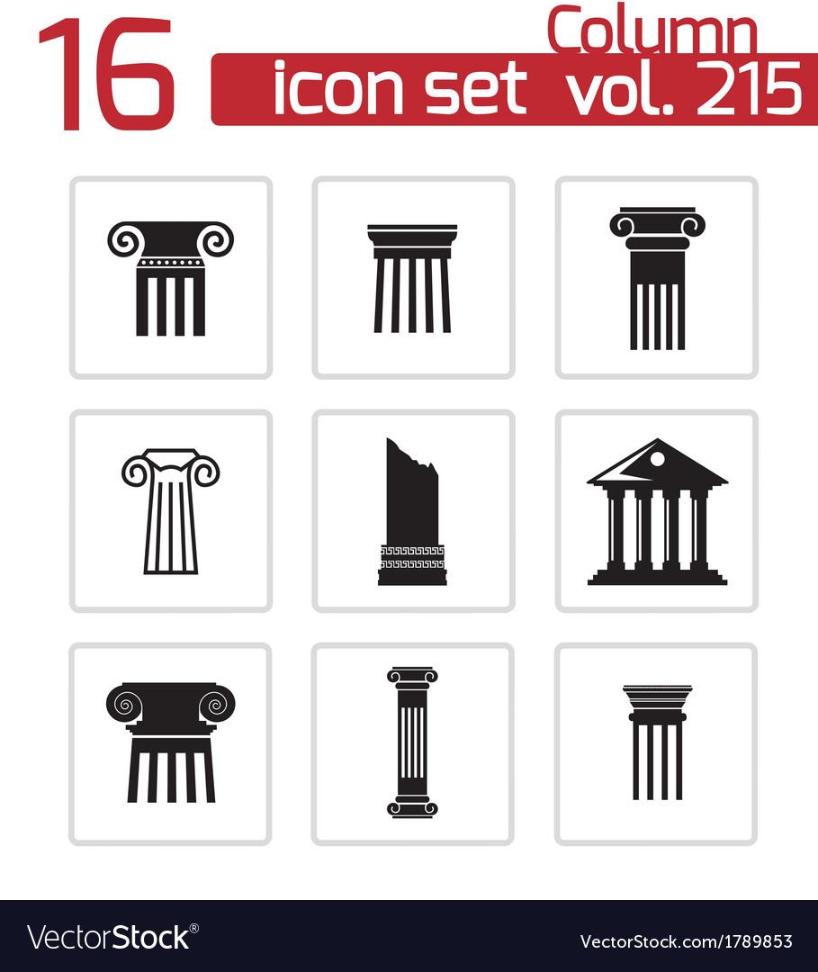Black column icons set