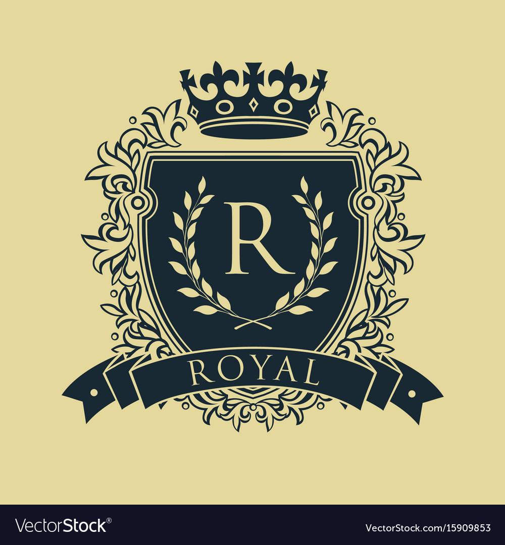 Coat of arms heraldic royal emblem shield with vector image