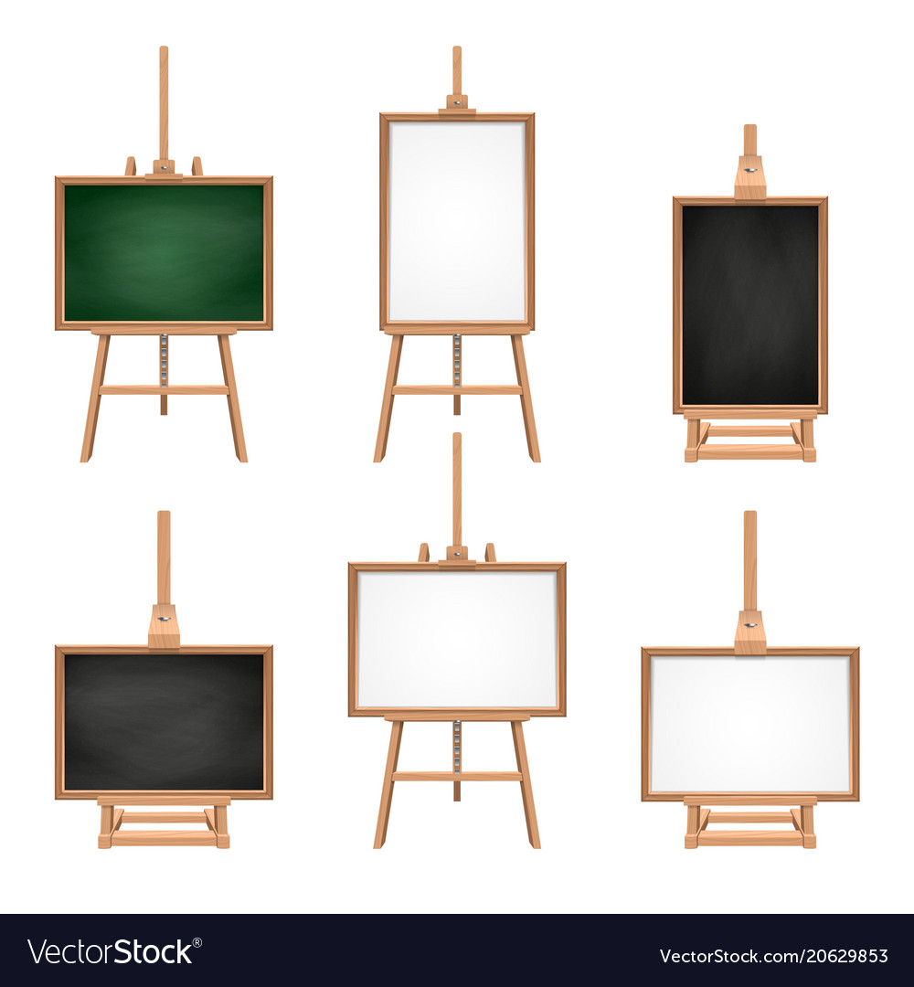 Different colored blank boards standing on easels