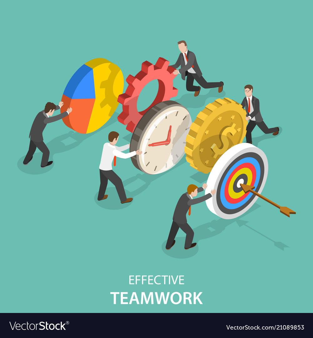 Effective teamwork flat isometric concept