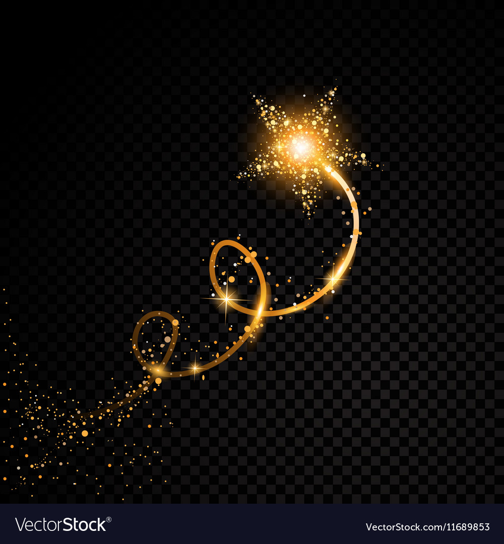 Gold glittering spiral star dust trail sparkling vector image