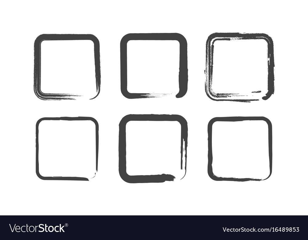Grunge round squares set brush paint vector image