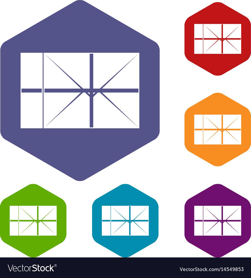 Postal parcel icons set hexagon vector image