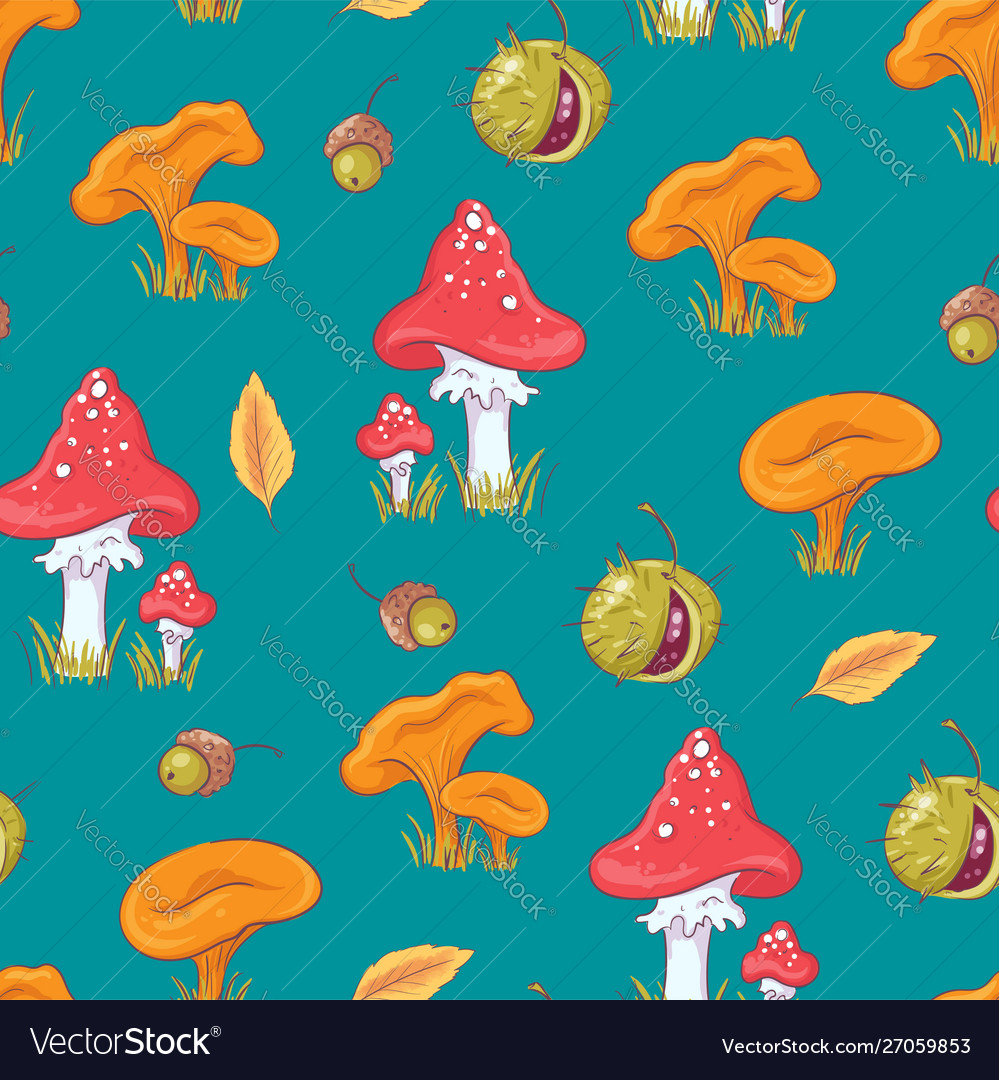 Seamless pattern with autumn mushrooms and