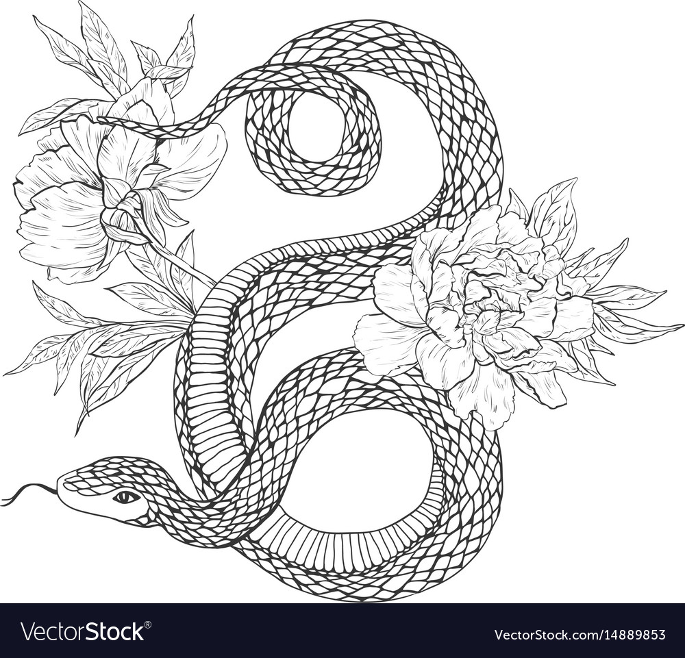 Snakes and flowers tattoo art coloring books
