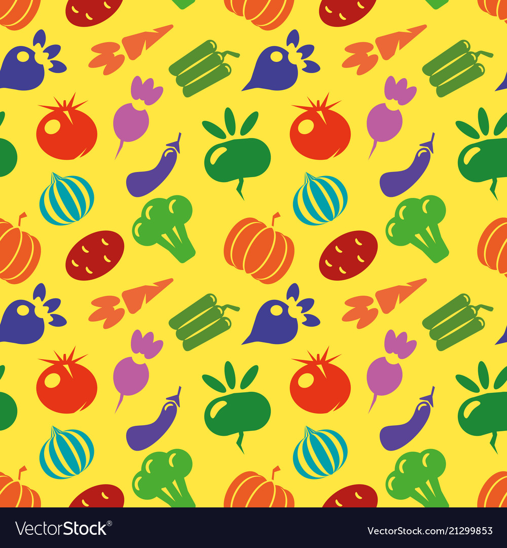 Vegetarian seamless pattern with carrot tomato