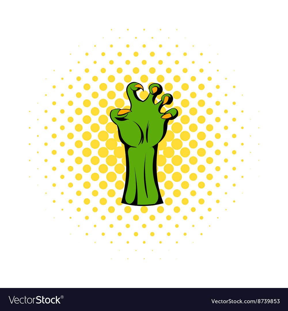 Witch green hand icon comics style