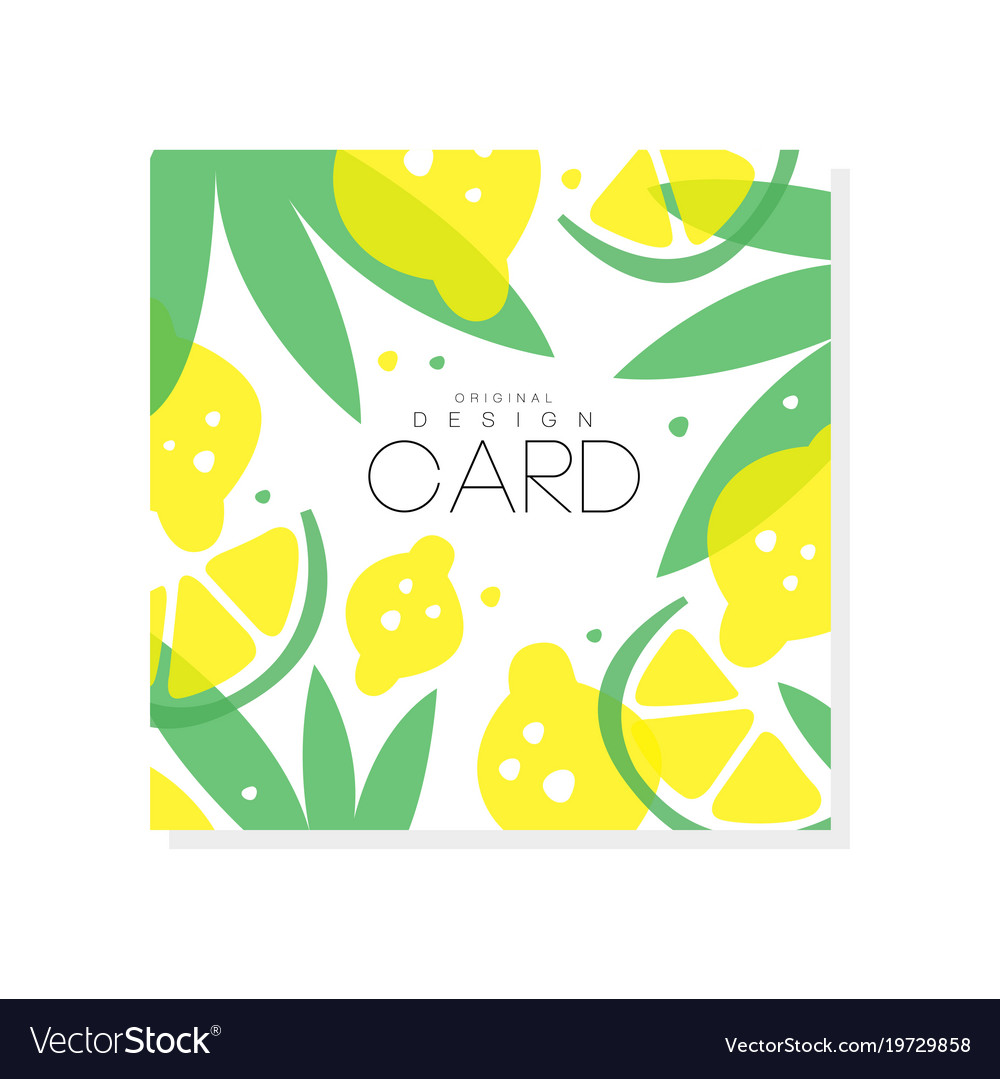 Abstract fruit card with juicy lemons limes and