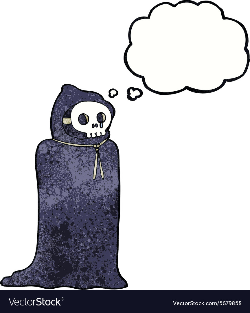 Cartoon spooky halloween costume with thought