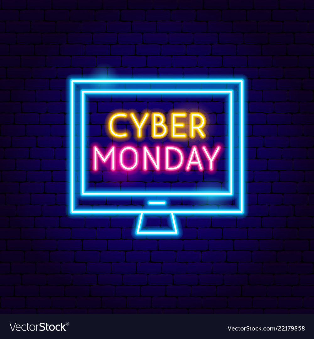 Cyber monday computer neon sign