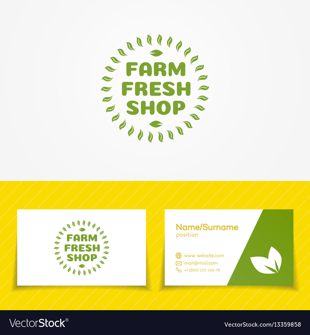 Farm fresh shop logo set with green leaves