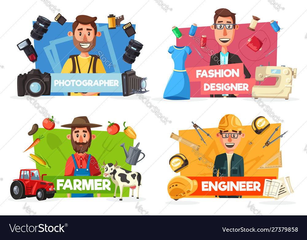 Farmer tailor photographer engineer professions