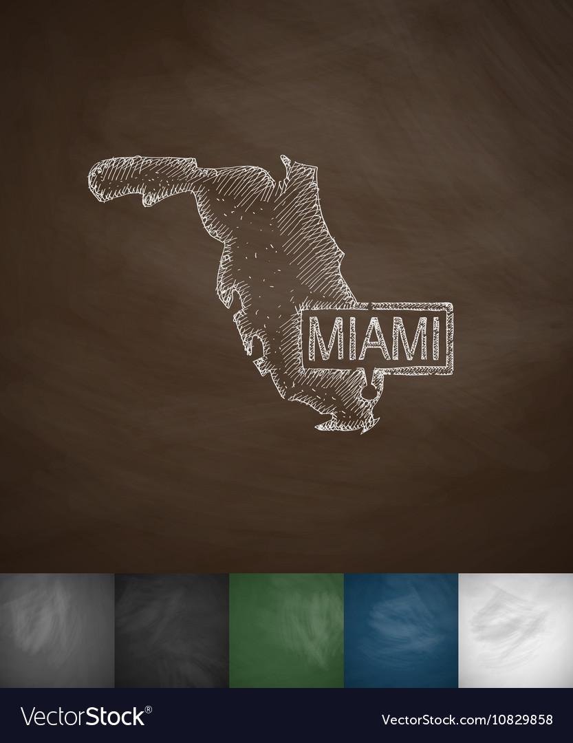 Miami Map icon Hand drawn