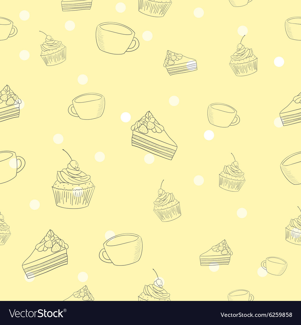 Seamless coffee and cake pattern