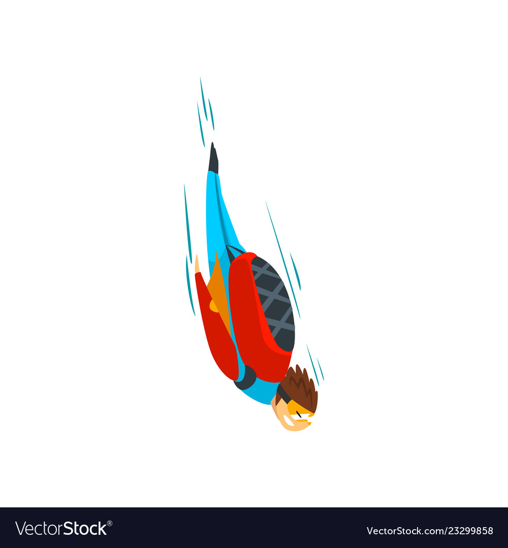 Skydiver man falling through the air free fall