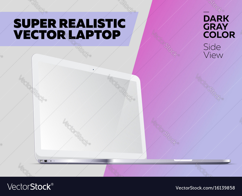 Super realistic notebook with blank screen