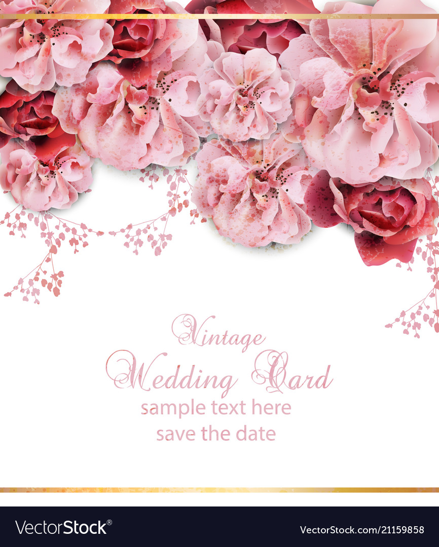 Wedding Invitation With Floral Design Royalty Free Vector